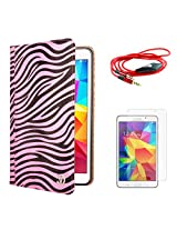 VG Zebra Print Mary Portfolio Multi Purpose Book Style Slim Flip Cover Case for Samsung Galaxy Tab4 T330/T331 8.0 (Pink) + AUX Cable + Matte Screen