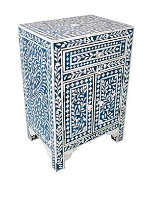 Mili Designs 1 Drawer 2 Doors Bone Inlay Bedside, Blue/Cream