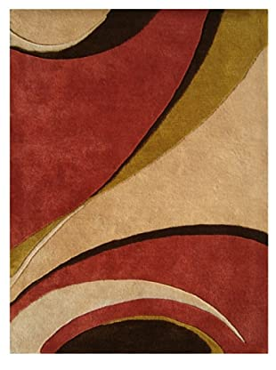 Znz Rugs Gallery Handmade Tufted New Zealand Blend Wool Rug (Tomato/Beige/Chocolate/Olive)