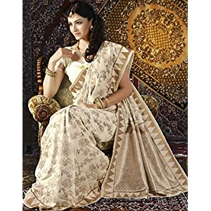 Off White Banarasi Silk Saree with Blouse By High5Store.com