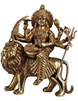 Mother Goddess Durga Seated on Lion - Brass Statue
