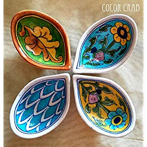 Color Crab - Blue Pottery Mix N Match Diya Set