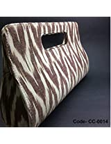 Chanchal Handloom Pochampally Brown and Cream Ikat clutch with handle