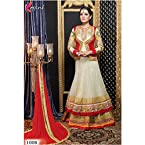 Celina Jaitly Off White & Red Colour Bridal Type Floor Length Suit