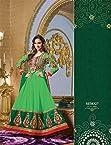 VandV-Lara Dutta Green Designer Neck Floor Touch Anarkali Suit