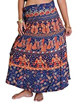 Exotic India Wrap-Around Sanganeri Skirt with Printed Marriage Procession - Color Dress Blue And RedGarment Size Free Size