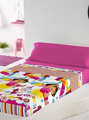 Euromoda Juego De Sábanas Dora Rainbow (Rosa / Fucsia)