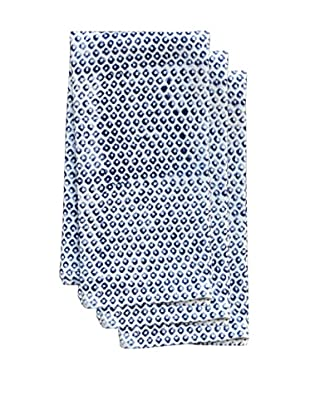 Couleur Nature Set of 3 Dots Tea Towels, Indigo