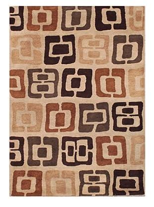 Mili Designs NYC Stamp Patterned Rug, Tan/Multi, 5' x 8'