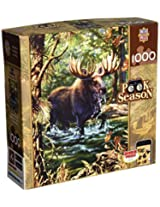 Masterpieces 1000-Piece Jigsaw Puzzle, 19.25 by 26.75-Inch, Moose Crossing