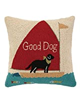 Peking Handicraft Good Dog Hook Pillow, 18 by 18-Inch, Multicolor