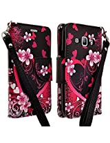 LG Leon LTE Case / LG Risio Case (Cricket) / Destiny (StraightTalk), Deluxe Pu Leather Folio Wallet Flip Case Cover With Kickstand For LG Leon Case / LG Tribute 2 / LG Power - Hot Pink Heart Sensation