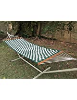 55'' Wide Soft weave quilted hammock - Green & Offwhite