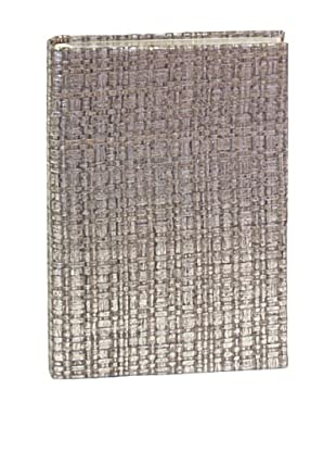 Aviva Stanoff Gilt-Edged Basketweave Keepsake Wide-Ruled Journal, Silver