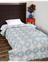 Beautiful Hand Block Printed Cotton Quilt Single White Floral By Rajrang