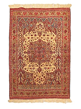 Hand-Knotted Finest Mouri Silk Rug, Cream/Light Brown, 4' 3