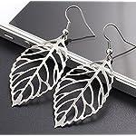 Silver Hollow Leaf Dangle Drop Earrings