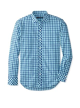 Zachary Prell Men's Taylor Checked Long Sleeve Shirt (Auqua Combo)