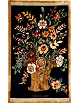 Exotic India Eclipse-Blue Kashmiri Carpet with Knotted Flower Vase - Pure Silk on Silk - Hamdan Daul