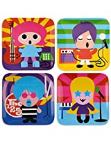 French Bull - BPA Free Children's Dinner Set - 8-Inch Melamine Kids Plate Set - Rock Star, Set of 4