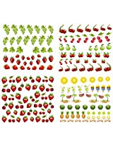 Nail Art Water Slide Tattoo Decals ★ Juicy Fruits - Cherry, Green Apple, Grape, Strawberry, Watermelon ★ Pack of 4