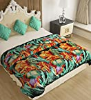 Home Candy  Floral Cozy Double Bed Mink Blanket - Green (MNK-BLN-503)
