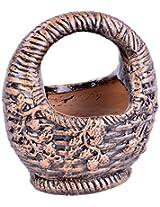 Gopal Gobinda Pataries Earthenware Decorative Basket (16 cm x 11 cm x 17 cm, Gold)