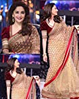 Madhuri Dixit Jhalak Golden & Red Net Saree - BWSL102