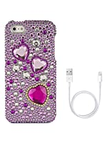 VanGoddy Hearts Rhinestones Full Diamond Back Cover for Apple iPhone 5s (Purple) + Data Cable