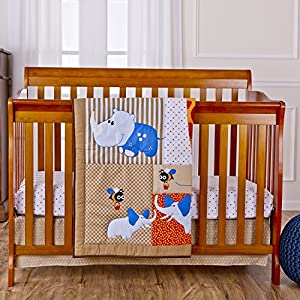 Dream On Me 3 Piece Crib Bedding Set, Jungle Babies