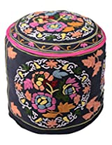 Elite Ottoman Black Cotton Floral Embroidered Pouf Cover By Rajrang