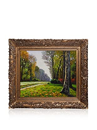 Hand-Painted Reproduction of Claude Monet The Road to Bas-Breau, Fontainebleau Framed Oil Painting, 20 x 24