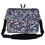 Meffort Inc 15 15.6 inch Laptop Sleeve Bag Carrying Case with Hidden Handle and Adjustable Shoulder Strap - News Clip Design