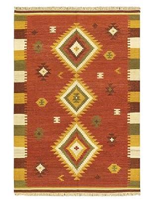 Hand Woven Kashkoli Wool Kilim, Dark Red, 4' 7
