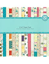 Assorted 8 by 8 Paper Pack - Brights (Set of 32 sheets)