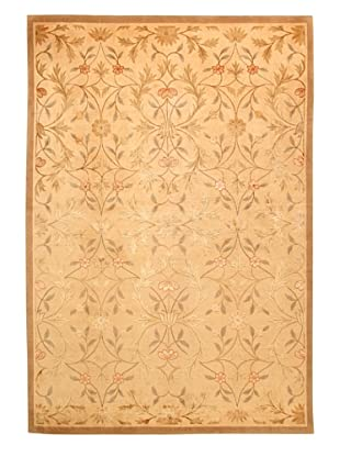Roubini Tibetani Tibetan Yak Spun Wool & Silk Luxury Rug, Cream Multi, 5' 5