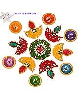 Ghasitaram Gifts Decorative Acrylic Rangoli R-801 with Diyas and Kaju Katli