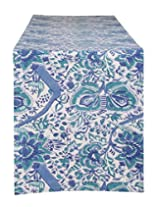 Ultimate Hand Block Printed Cotton Table Runner White Floral By Rajrang