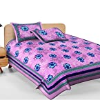 Attractive Multicolor Cotton Printed Double Bed Sheet With 2 Pillow Covers With Two Pillow Covers