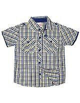 FS Mini Klub Boys Cotton Short Sleeve Shirt (83365Tyellowplaid12-18M_1 Yellow Plaid, 12-18 Months)