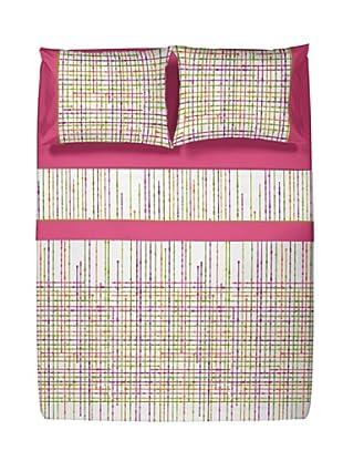 Casual Textil Juego de Sábanas Network (Fucsia)