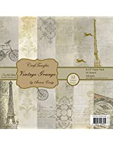 "CrafTangles Scrapbook and Craft Paper Pack - Vintage Grunge (Size 8""X8"") 12 Designs 24 Sheets For Card & Scrapbooking"