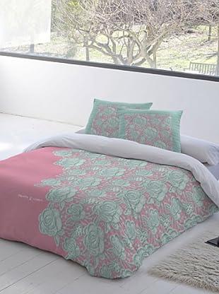 Devota&Lomba Juego de Funda Nórdica Croche Rosa (Rosa / Verde / Gris)
