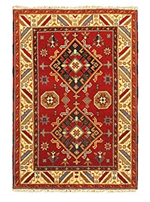 Hand-Knotted Royal Kazak Rug, Cream/Red, 4' 2