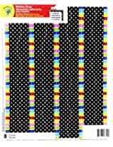 Teaching Tree Window Cling Borders - Reusable Window Decorations (Black and White Dots/Colorful Strip)