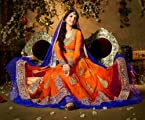 Orange Colored Net Semi-Stitched Anarkali Salwar Kameez