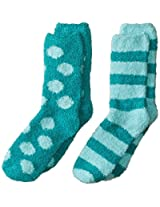 Maidenform Big Girls' Cozy Sock - Dots and Stripes 2-Pair Pack