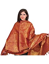 Exotic India Deep-Claret (MADURAI MEENATCHI) Brocaded Shawl from Tamil Nad - Red