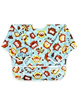 Bumkins Waterproof Sleeved Bib, 6 months to 2 years, Blue Owl
