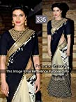 Priyanka Chopra Black and Beige Half and Half Bollywood Replica Saree